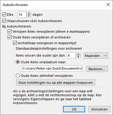 Outlook Auto Archiveren instellen